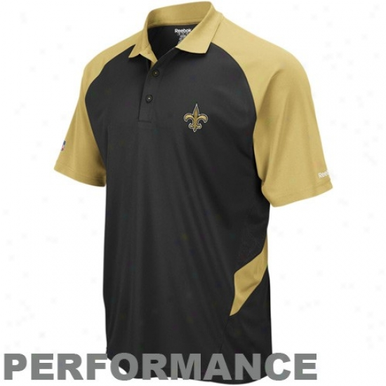 Saints Clothes: Reebok Saints Black-gold Sideline Statement Performance Polo