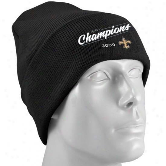 Saints Hats : Reebok Saints Wicked 2009 Nfc Champions Cuffed Knit Beanie