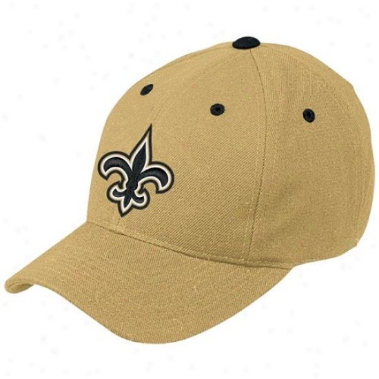 Saints Hats : Reebok Saints Gold Basic Logo Wool Blend Hats