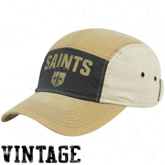 Saints Hats : Reebok Saints Gold-black 5 Panel Adjustable Hats
