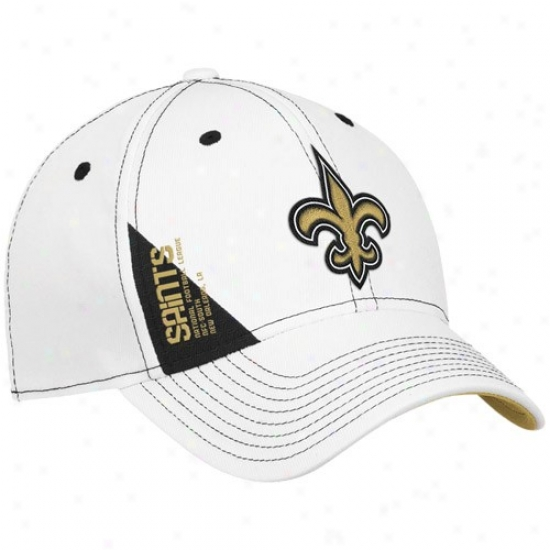 Saints Hats : Reebok Saints White 2010 Draft Day Flex Fit Hats