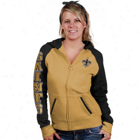Saints Hoodie : Reebok Saints Ladies Gold Letterman Filled Zip Hoodie