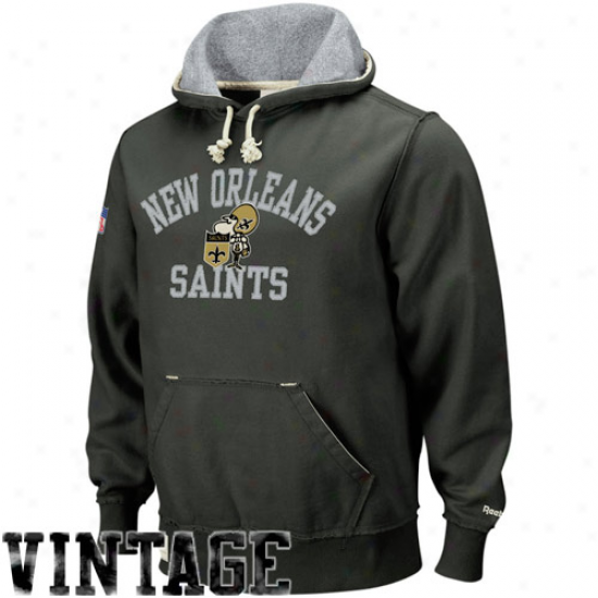 Saints Hoodies : Reebok Saints Black Vintage Pullover Hoodies