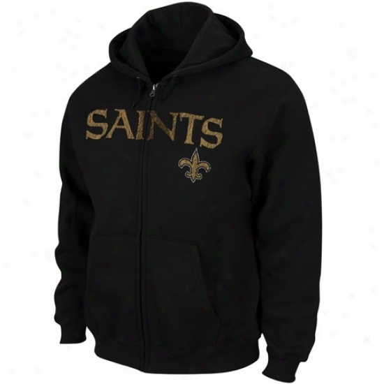 Saints Hopdy : Saints Black Touchback Iii Full Zip Hoody