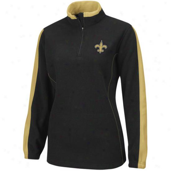 Saints Jacket : Saintz Ladies Black Breakout Play 1/4 Zip Flece Pullover