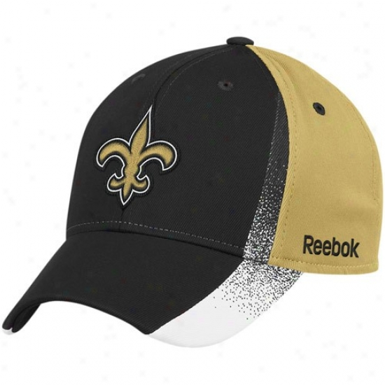 Saints Merchandise: Reebok Saints Black-gold Spray Paint Structured Flex Fit