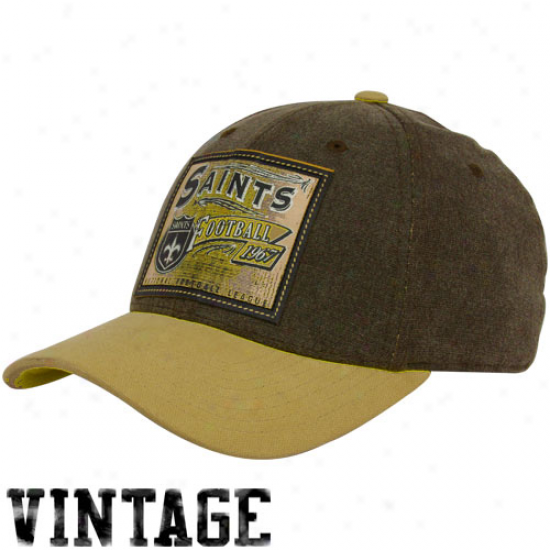 Saints Merchandise: Reebok Saints Brown Pro Shape Flex Hat