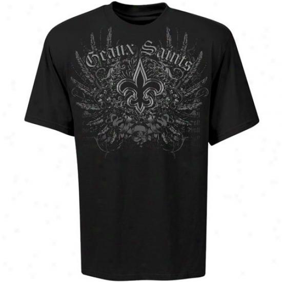 Saints Shirt : Saints Black Geaux Sainys Shirt
