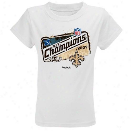 Saints T-shirt : Reebok Saints Youth Girls White 2009 Nfc Champions Locker Room T-shirt