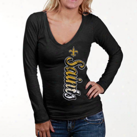 Saints Tees : Saints Ladies Black Up And Down Slub V-neck Long Sleeve Tees