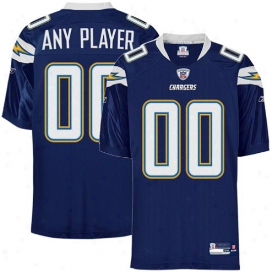 San Diego Charger Jersey : Reebok Nfl Equipment San Diego Charger Nvy Blue Authentic Customizrd Jersey