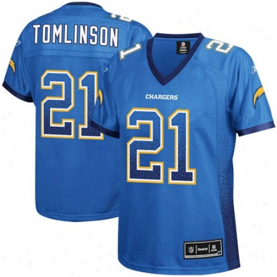 San Dieog Charger Jersey : Reebok San Diego Charger #21 Ladainian Tomlinson Ladies Electric Blue Drift Tackle Twill Fashion Jersey