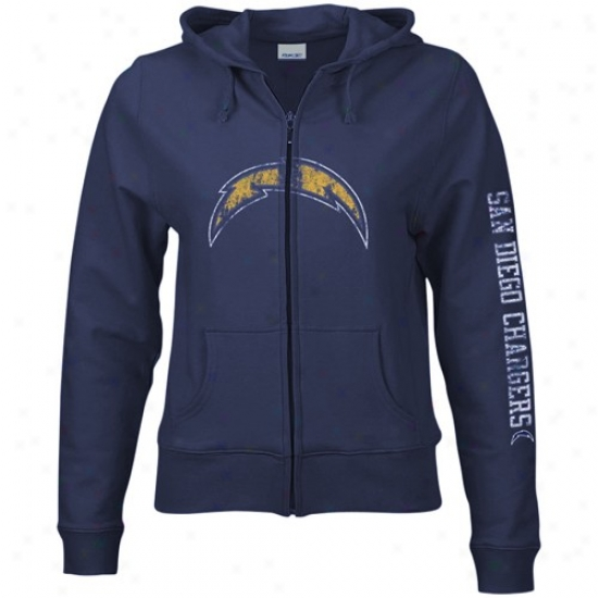 San Diego Charger Sweatshirts : Reebok San Diego Charger Ladies Navy Blue Giant Logo Full Zip Sweatshirts