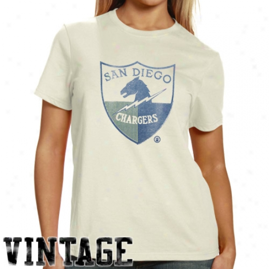 San Diego Charger T Shirt : Junk Food San Diego Charger Ladies Cream Throwback Afl Logi Vintage T Shirt
