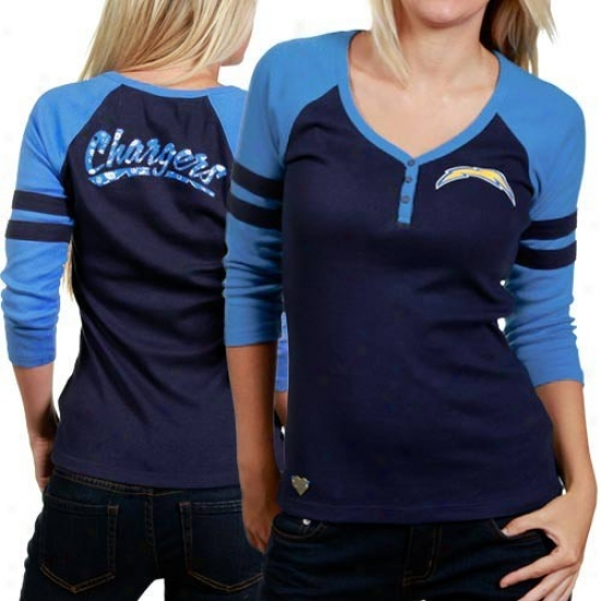 San Diego Charger Tee : Reebok San Diego Charger Ladies Navy Blue-electric Blue 3/4 Sleeve Henley Tee