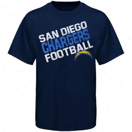 San Diego Charger Tshirts : Reebok San Diego Charger Youth Navy Dismal Loud Chant Tshirts