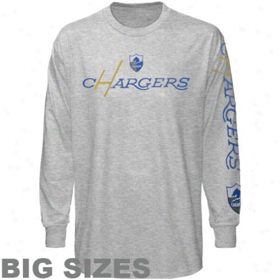 San Diego Chargers Apparel: Reebok San Diego Chargers Ash Afl Old Time Pride Big Sizes Vintage Long Sleeve T-shirt