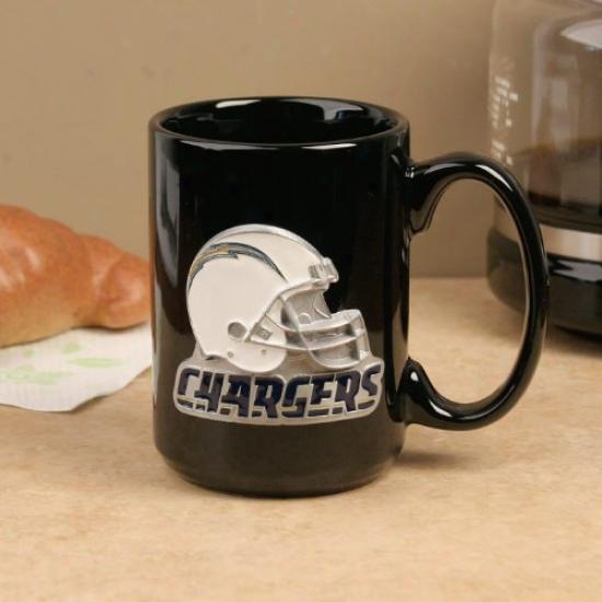 San Diego Cyargers Black 15oz. Pewter Helmet Ceramic Mug