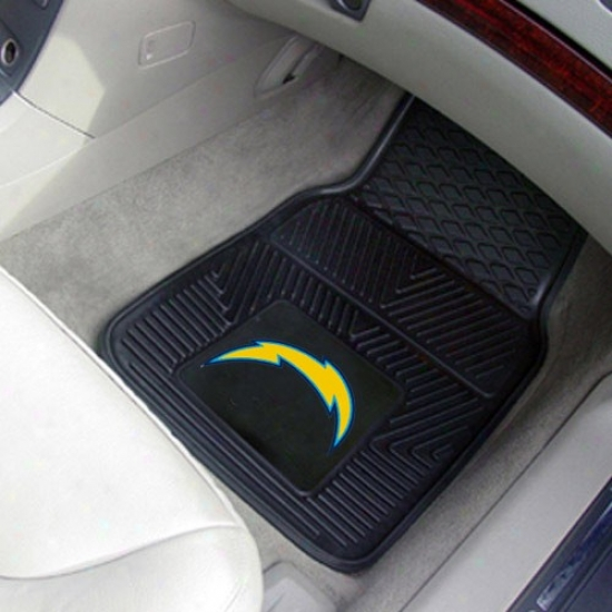 San Diego Chargers Black 2-ppiece Vinyl Car Mat Set