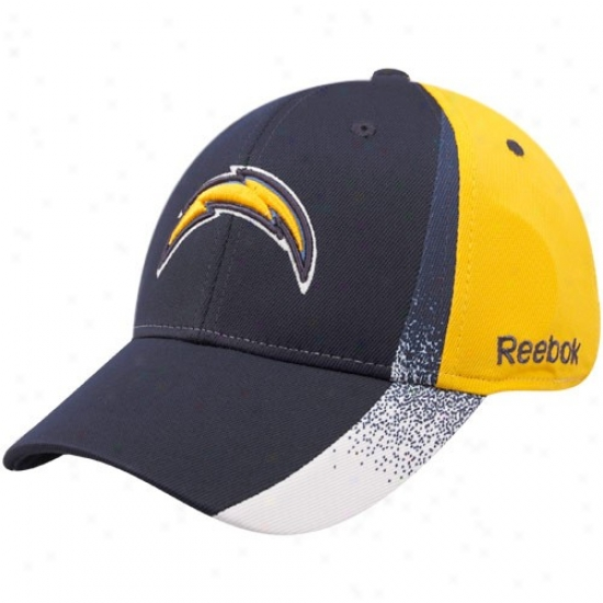 San Diego Chargers Gear: Reebok San Diego Chargers Navy Blue-gold Spray Painy Structured Flex Fit Hat