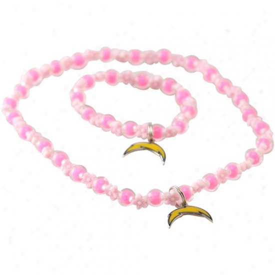 San Diego Chargers Girls Pink Sophie Beaded Team Logo Bracelet & Necklace Set
