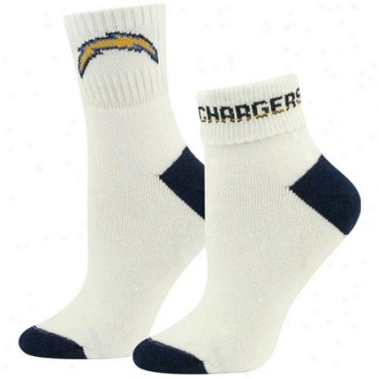 San Diego Chargers Ladies White-navy Bleu Roll Socks
