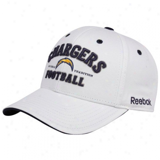 San Diego Chargers Merchandise: Reebok San Diego Chargers White San Diego Tradition Adjustable Hat