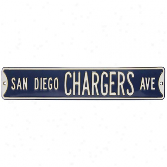 San Diego Chargers Navy Blue Steel Street Sign