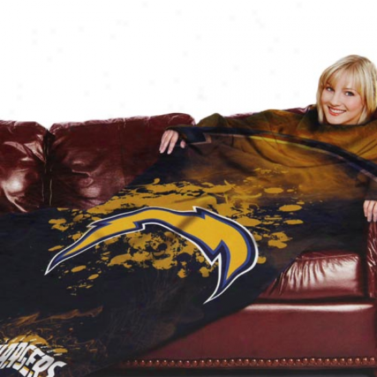 San Diego Chargers Navy Blue Team Logo Prnt Unisex Comfy Throw