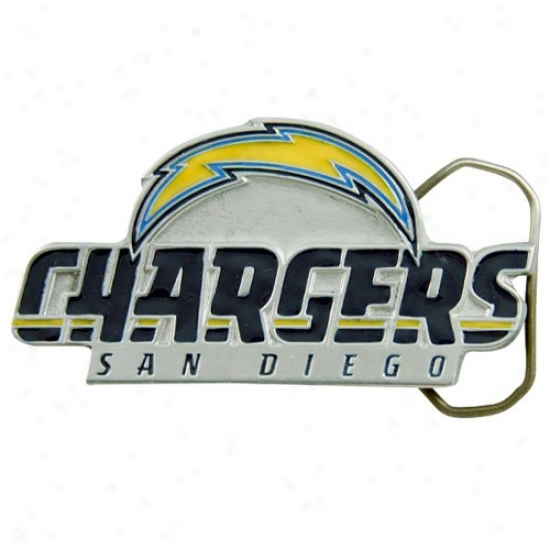 San Diego Chargers Pewter Team Logo Belt Buckle