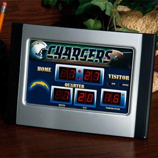 San Diego Chargers Scoreboard Desk Clock