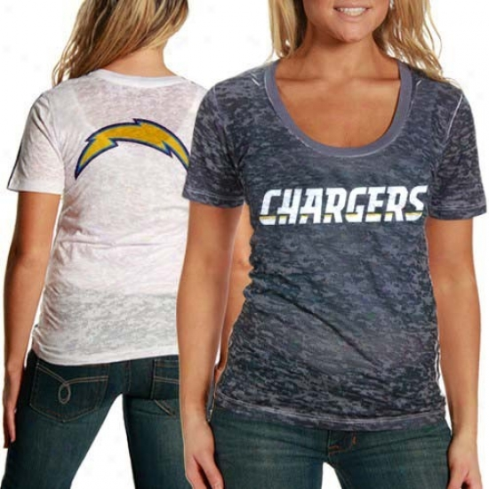 San Diego Chargers Shirt : Touch By Alyssa Milano San Diego Chargers Ladies Navy Blue-white Sublimated Sheer Burnout Premium Shirt