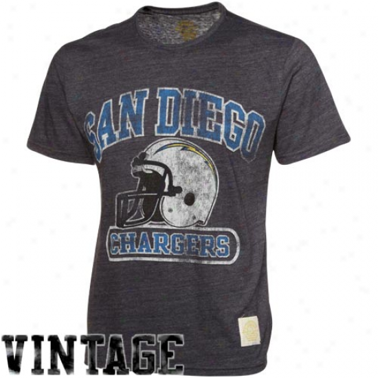 San Diego Chargers Shirts : Reebok San Dievo Chargers Navy Azure Showboat Retro Sport Tri-blend Premium Shirts