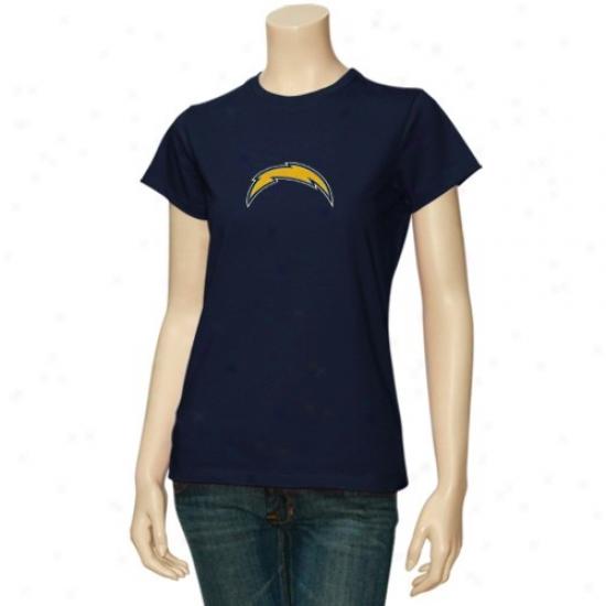 San Deigo Chargers T Shirt : Reebok San Diego Chargers Ladies Navy Blue Log0 Premier T Shirt