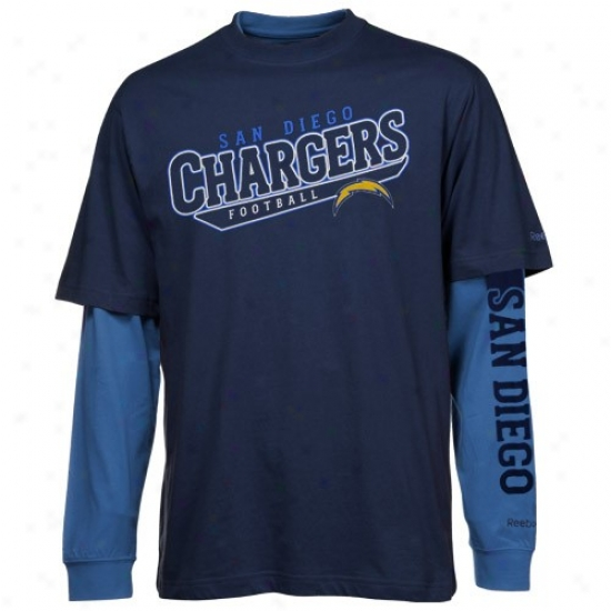 San Diego Chargers T-shirt : Reebok San Didgo Chargers Navy Blue-light Blue Option 3-in-1 T-shirt Combo Gang