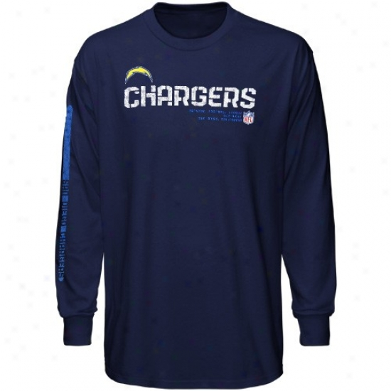 San Diego Chargers T-shirt : Reebok San Diego Chargers Navy Blue Sideline Tacon Long Slreve T-shirt