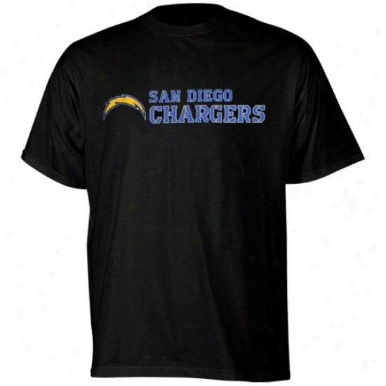 San Diego Chargers T Shirt : Reebok San Diego Chargers Black Stealth Stencil T Shirt