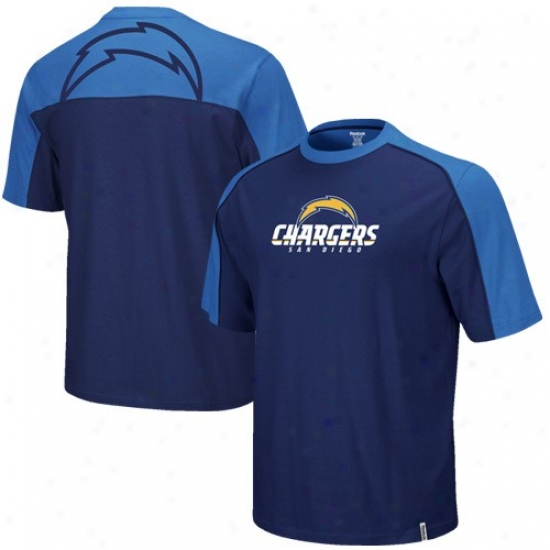 San Diego Chargers Tshirt : Reebok San Diego Chargers Navy Blue-electric Blue Drft Pick Tshirt