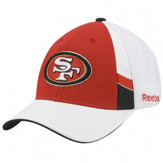 San Francisco 49er Merchandise: Reebok San Francisco 49er Cardinal-white Structured Mesh Back Flex Fit Hat
