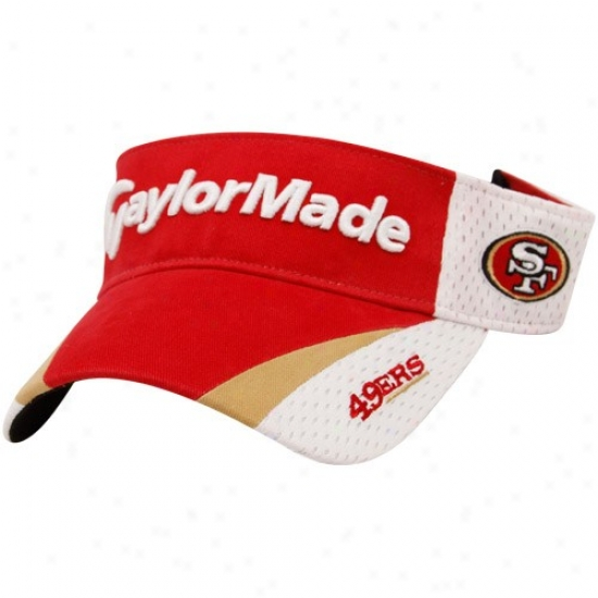 San Francisco 49er Merchandise: Taylprmade San Francisco 49er Scarlet-white 2010 Adjustable Visor