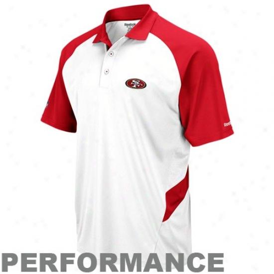 San Francisco 49er Polo : Reebok San Francisco 49er White-cardinal Sideline Statement Performance Polo