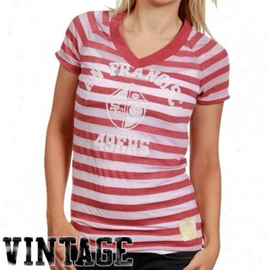 San Francisco 49er T-shirt : Reebok San Francisco 49er Ladies Cardinal Retro Burnout Stripe T-shirt