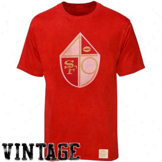 San Frabcisco 49er Tee : Reebok San Francisco 49er Red Bigger Berter Logo Retro Sport Premium Tee