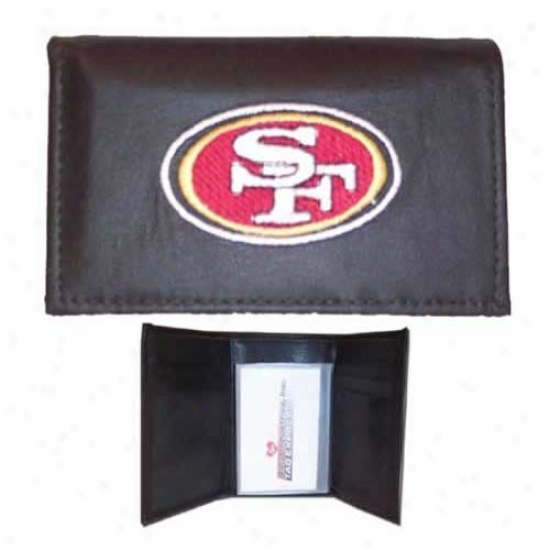 San Francisco 49ers Black Embroidered Leather Trifold Wallet
