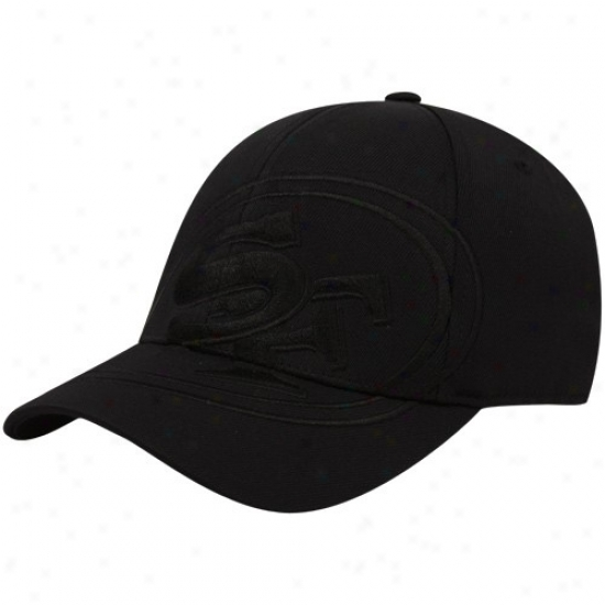San Francisco 49ers Caps : Reebok San Francisco 49ers Black Tonal Structured Flex Fit Caps