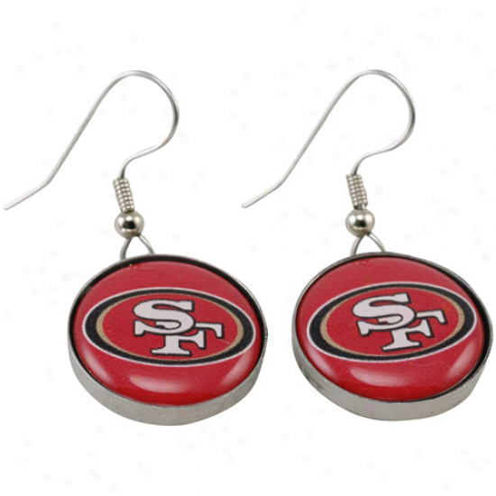 San Francisco 49ers Enamel Logo Cha5m Drop Earrings
