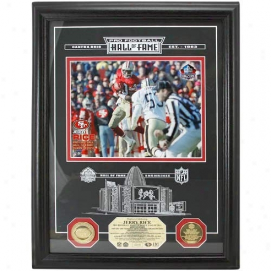 San Fraancisco 49ers Jerry Rice 2010 Hall Of Fame Introduction  Etched Glass Photomint