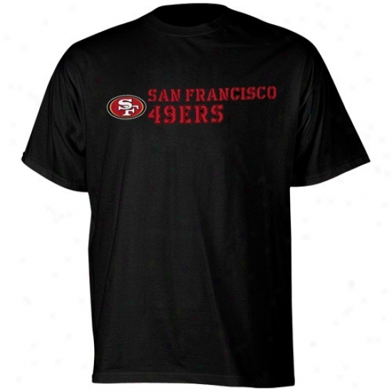 San Francisco 49ers Tshirt : Reebok San Francisco 49ers Black Stealth Stencil Tshirt