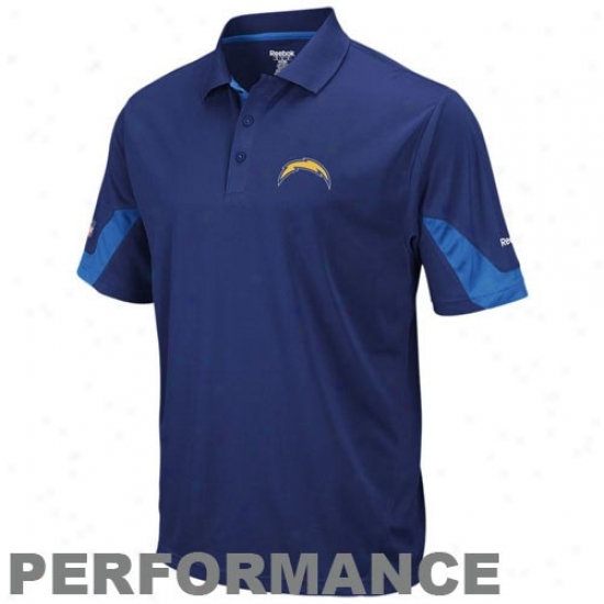 Sandiego Charger Garments: Reebbok Sandiego Charger Navy Blue-light Blue Sideline Team Action Polo