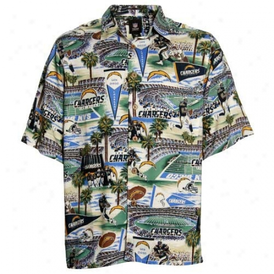 Sandiego Charger Golf Shirts : Reyn Spooner Sandiego Charger Cream Scenic Print Hawaiian Button-up Shirt